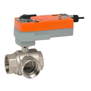 Belimo B331+AFRB24-SR 3-Way CCV Ball Valve, Stainless
